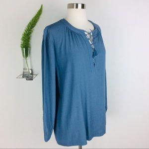 Madewell Blue Comfortable Long Sleeve Blouse